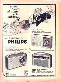 Radios portátiles PHILLIPS. Publicidad argentina, década del 60.