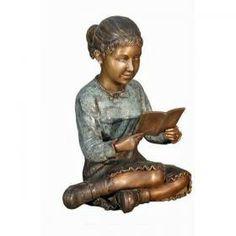Girl Sitting & Reading Book Bronze Statue