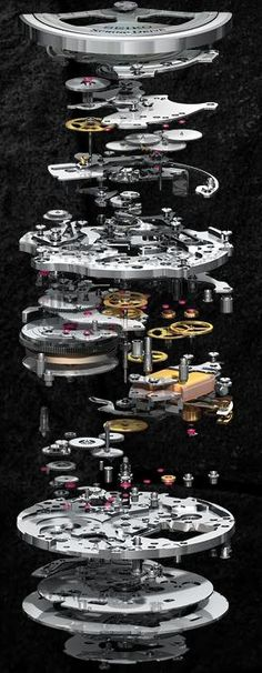 Seiko Ananta (Mecanico) Found on seikowatches.com this image makes me think of way i could design multiple platforms made from machine parts in my mechanical world