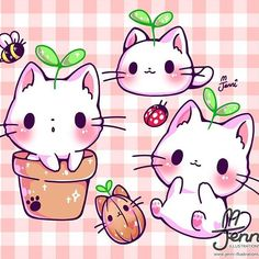 Is this how kitty plants grow? Is this how kitty plants grow? Cute Animal Drawings Kawaii, Cute Kawaii Animals, Cute Cat Drawing, Cute Drawings, Kitty Drawing, Kawaii Anime, Chat Kawaii, Kawaii Cat, Cute Anime Cat