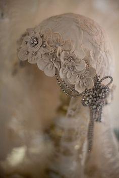 Antique Irish Crochet Headpiece