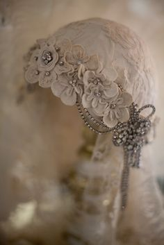 Sheelin Antique Lace Shop Antique Irish Crochet Headpiece--white, grey, ivory