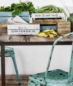 Antique-finish wooden boxes with printed text design. | H&M Home