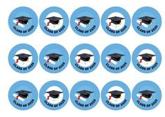 Printed edible toppers celebrating the class of 2020 - can be used on cupcakes, cakes, cocktails, hot drinks, pies, cookies, icecream and more.