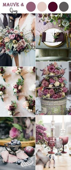 mauve,purple and grey vintage wedding colors ideas