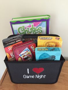 "Game Night! Great gift idea using the Double Duty Caddy and our ""I heart"" monogram. Fill with games for the whole family."