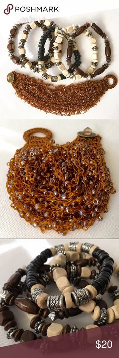 Boho Style Brown Cream Bracelets Set of 6 *NWT* The star of the show is the brown and amber hued woven bracelet. So cute! It has a button closure and some stretch. The antiqued gold-tone button has a cut crystal added to it. -The other five stretch bracelets have simple wood and silver tone beads. Jewelry Bracelets