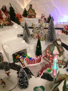 North Pole Christmas Village. Elf Bunkhouse, Sweet Rock Candy Company and the Real Artificial Tree Factory can be seen in this section.