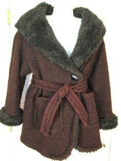 Vintage John Caruana Brown Jacket Coat Wool Dark Brown Faux Fur Collar Size 8 #JohnCaruana