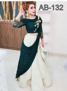 Indian Designer Green Taffeta Silk Off White Party Wear Lehenga choli C Indian Lehenga, Pakistani Bridal Lehenga, Lehenga Choli Wedding, Party Wear Lehenga, Party Wear Dresses, Dress Party, Silk Lehenga, Heavy Lehenga, Green Lehenga