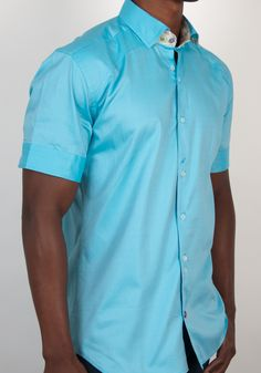 Black solid stretch short sleeve button down shirt with light blue ...