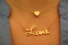 Gold Matte Love and Heart Necklace