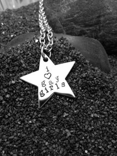 I LOVE GAY GIRLS hand stamped steel by CardCarryingLesbian on Etsy, $65.00