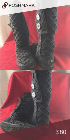 Tall 3 button Knit boots Sweater material with lambswool in the bottom UGGS Shoes Over the Knee Boots