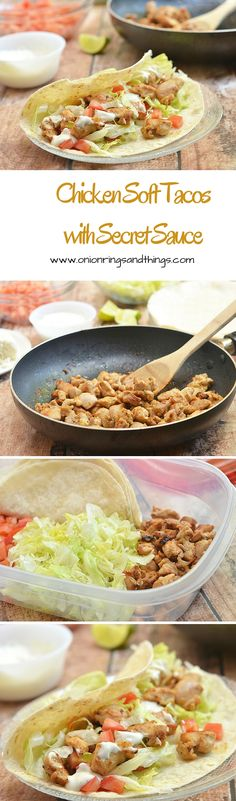 Chicken Soft Tacos with Secret Sauce are what's for dinner! With flavorful chicken morsels, taco fixings wrapped in soft tortillas and drizzled with a dreamy Del Taco-inspired sauce, they are quick and easy to make yet packs big, bold flavors