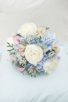 Pink Blue Peony Bouquet Hydrangea Bride Bridal Flowers Pretty Pastel Relaxed Rustic Wedding http://www.kayleighpope.co.uk/