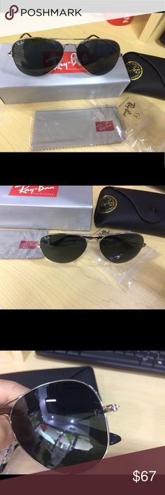 RB aviators sunglasses RB 3025 aviators sunglasses.  Brand new no scratches  Come with original box and case Dark green lens 100% real  Shipping fast Ray Ban Accessories Sunglasses
