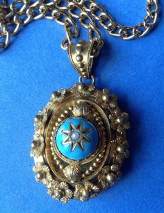Stunning Antique Victorian Robin's Egg Blue Enamel Pinchbeck Gold Pendant in Jewellery & Watches, Vintage & Antique Jewellery, Vintage Fine Jewellery | eBay