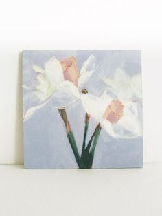 Still Life Painting White Daffodils on wood by LeahJesseArts