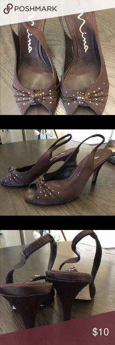 Nina brown peep toe heels. Size 6 Size 6 Nina Shoes Heels