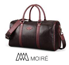 42f308fcdb5b Moiré Forlenza Weekend Genuine Leather Luxury Mens Travel Duffel Bag Fits 17