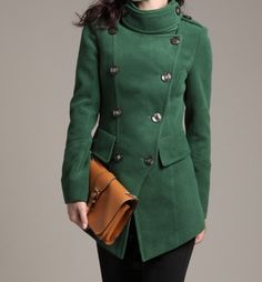 Green  Long Woolen Coat/ Cashmere Coat/ by Eloneeclothing on Etsy, $75.00