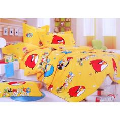 Yellow Angry Birds Queen Bedding Sets