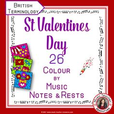 Music lessons   |  music education   |  REINFORCE MUSIC THEORY NOTE NAMES with these VALENTINE'S DAY MUSIC ACTIVITIES: COLOUR by MUSIC NOTES and RESTS. Excellent for your Valentine's Day Music Lessons This set contains 26 Valentine's Day Music Colouring Worksheets ♫ ♫ Colouring sheets are such a favourite with young musicians ♫ ♫   #musiceducation  #musiced