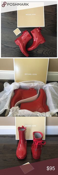 NIB Michael Kors Red Larson Rain Bootie These are so cute! Brand new Michael Kors Larson rain bootie in Red. Silver hardware with bow detail on back. Size 8. MICHAEL Michael Kors Shoes Ankle Boots & Booties