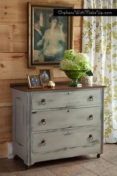 Dresser finished in French Linen Chalk Paint® decorative paint by Annie Sloan.