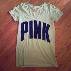 PINK Victoria's Secret T-shirt PINK Victoria's Secret light green Tee with black print. PINK Victoria's Secret Tops Tees - Short Sleeve