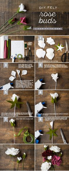 Make your own stunning felt flower bouquet with these rose and leaf patterns and tutorials from handcrafted lifestyle expert Lia Griffith.