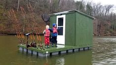 Camping & Fishing on Floating Cabin Built From Scratch (My Quarantine Bug Out Cabin) Shanty Boat, Fishing Shack, Hunting Cabin, Diy Boat, Boat Building Plans, Playhouses, Fish Camp, Outdoor Stuff, Sheds