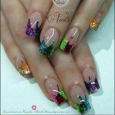 Tri color glitter nails