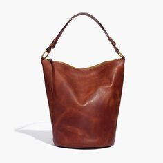 The Lisbon O-Ring Bucket Bag in Leather $150 madewell