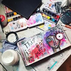 """What my desk ACTUALLY looks like after an art session. Usually I make it look deliberately messy / pretty. With the art supplies arranged just so the pretty colours of the paints showing. Kind of the art desk equivalent of perfectly styled """"bed hair"""" or """"I woke up like this and I'm not wearing makeup makeup"""".   Also there are roadworks right outside my window and I'm going insane!!! (Earplugs are helping but the noise is inescapable)  #irisimpressionsart Bed Hair, Art Desk, Going Insane, Mixed Media Artists, Bed Styling, Insta Art, Art Supplies, Iris, Window"""