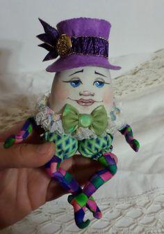 OOAK Art Doll - Humpty Dumpty Cloth Doll - Mother Goose Nursery Rhyme - Paula McGee - Paula's Doll House - Green Bowtie by paulasdollhouse on Etsy