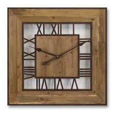 This sizable wall clock will tie into your home decor with ease and grace. It features rustic natural wood and metal that frames the Roman numerals on the face of the clock.