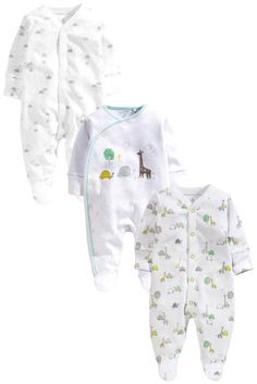 White Delicate Animals Sleepsuits Three Pack (0-12mths)