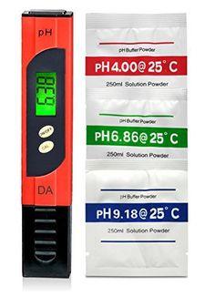 Digital Aid Professional PH Mètre avec grand écran LCD rétro-éclairé. Gamme 0.00au 14.0PH. 3Solution Tampon PH des poudres gratuit…