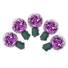 25ct Purple LED G40 Tinsel String Lights
