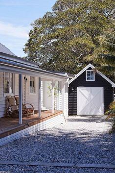 Home Renovation Exterior Inside NSW's Soul of Gerringong - Get In My Home Beach House Tour, Cottage Exterior, Interior And Exterior, Exterior Paint, Interior Design, Fresco, Weatherboard House, Queenslander, Garage Door Design