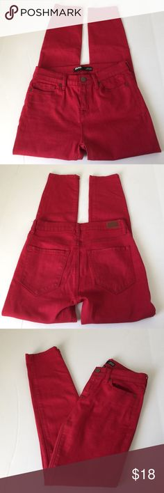 UO BDG High Rise Grazer Red Jeans, size 25 NWOT UO BDG High Rise Grazer Red Jeans in size 25. Flat lay measure of the waist is 13.75. Rise is 9.5, inseam is 27, and leg opening is 5.5. Made from 73% cotton, 25% poly and 2% spandex. NWOT, never worn, please ask if you have any questions. Urban Outfitters Jeans Ankle & Cropped