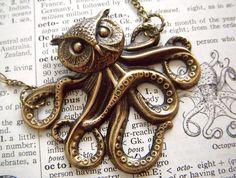 Owl Octopus Necklace Victorian Monster The Owlctopus Half Owl Half Octopus Rustic Brass Original Design Gothic Steampunk Jewelry. $48.00, via Etsy.