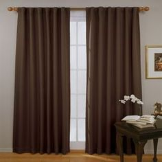 Eclipse Fresno 108-In Mushroom Polyester Rod Pocket Single Curtain Panel 11353052108Msh