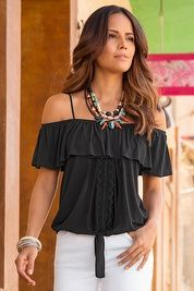 Overlay cold shoulder tie tank top
