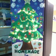 Homemade tree and decorations for Christmas door decorating competition at school. We had a blast!!