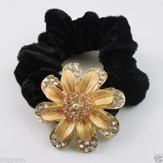 2pcs 80mm Black Rope Rhinestone Flower Hair Rope Ponytail Holder Charms 53*53mm