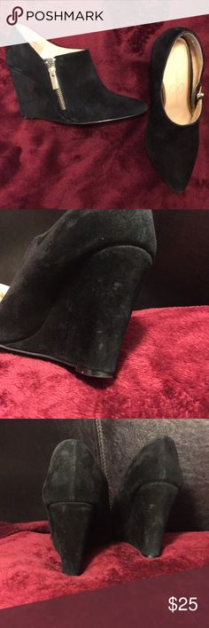 Jessica Simpson booties Suede wedges booties ADORABLE! scruffs in the back. Jessica Simpson Shoes Ankle Boots & Booties