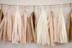 Blush and gold tassel party garland
